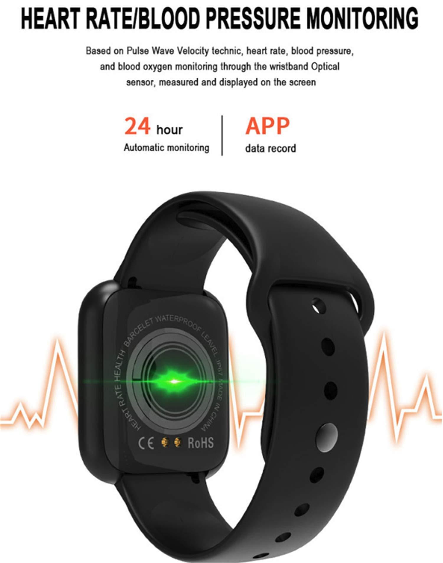 linyingdian Smartwatch, Reloj Inteligente Impermeable IP67 Pulsera de Actividad Inteligente con Monitor de Sueño Pulsómetros Podómetro Contador de Caloría, para Hombre Mujer niños 3