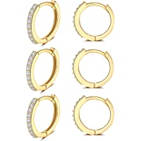 Creolen Silber 925 Ohrringe- 3 Paar Hypoallergen Klein Huggies Creolen Silber Damen Sterling Silber Pfosten Ohrringe Set…