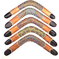 Bumerang 45 cm aus Teak Holz Dotpaint Boomerang Australien
