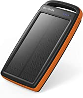 RAVPower Solar Charger 20000mAh Portable Charger Solar Power Bank Dual USB External Battery Pack Power Pack with...