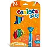 Carioca Baby Teddy Marker 1+ | Set Colori con Pennarelli Super Lavabili, Scatola Pennarelli per Bambini dai 12 Mesi, 12 Pezzi