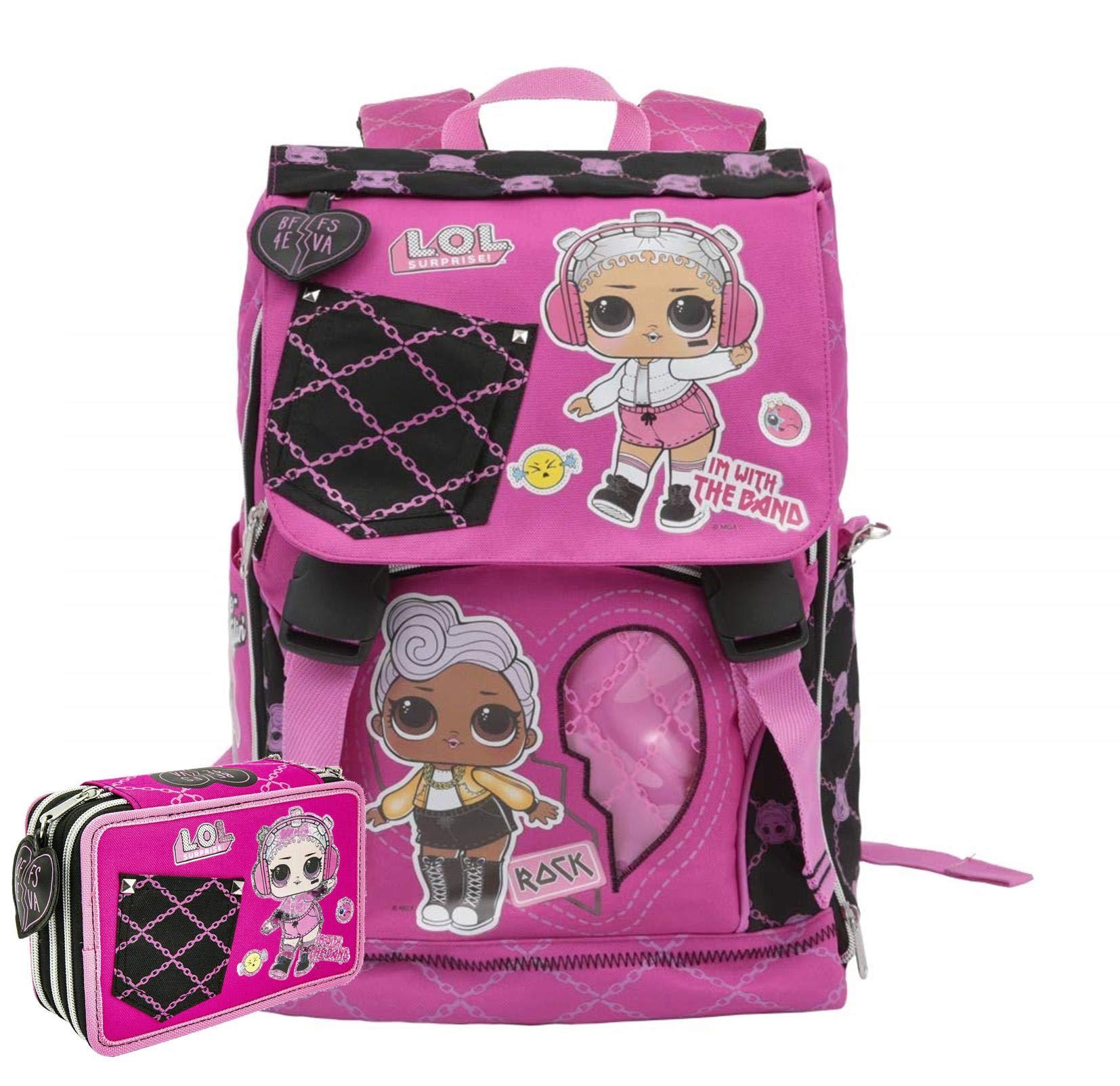 Schoolpack Zaino Scuola LOL Surprise Estensibile 40x13x29 cm + Astuccio 3 Zip Completo