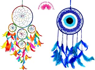 Combo Dream Catcher 5 Round + Evil Eye Dream Catcher for Wall Hanging Attract Positive Dreams & Positive Thinking and Protections Dream Catcher Pack of 1+1