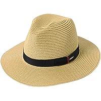 Comhats Summer Panama Fedora Trilby - Cappello da sole in paglia per uomo Safari Beach Hat - pieghevole 91554_beige L