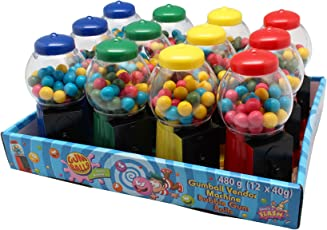 Gumball Machine Mini Kaugummi - Automat gefüllt und Nachfüllbar 12 Stück x 40 Gramm Verkaufsdisplay Geburtstag