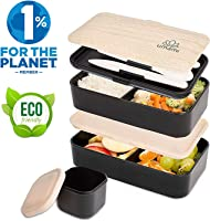 UMAMI Lunch Box Black Bamboo | 2-Compartment Hermetic Bento with 3 Piece Cutlery Set & Sauce Jar | Suitable for Adults...