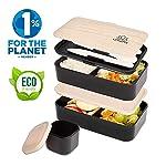Umami® ⭐ Lunch Box Noir Bambou | Boîte Bento Japonaise Premium avec 3 Couverts Solides Et 1 Pot À Sauce | 1200ml...