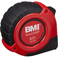 BMI 57110 Flessometro Twocomp, 8 x 25, mm, Nero/Rosso