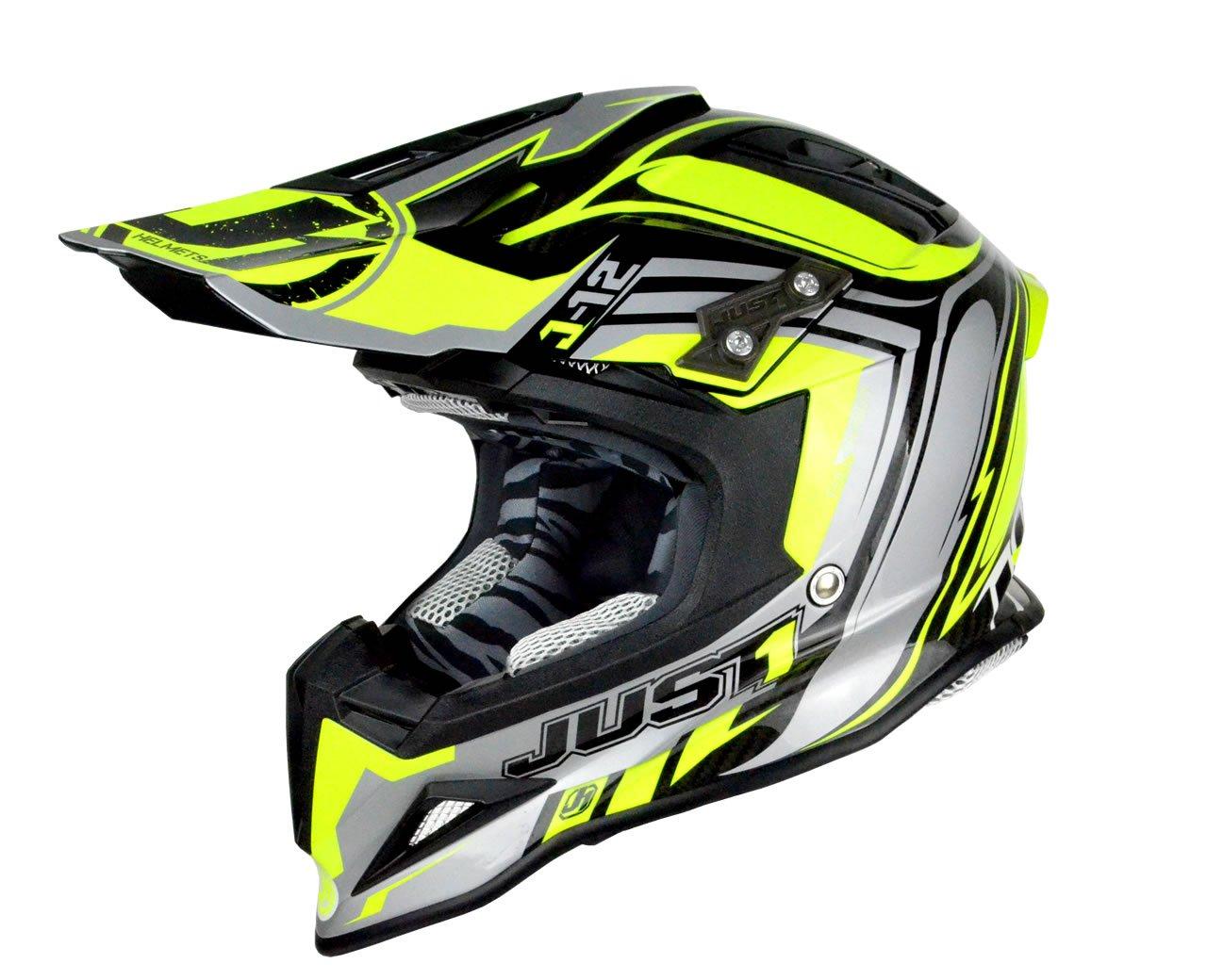 Just 1 Helmets - Casco Motocross J12, Giallo/Nero, S