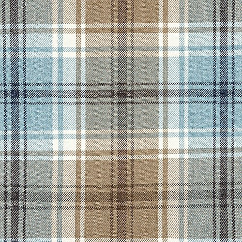 McAlister Textiles Angus – Duck Egg Blue Tartan Check Curtains Pair | Eyelet Ring Top Fully Lined Bedroom Drapes | 46″ Wide x 54″ Drop