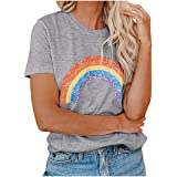 VEMOW Womens O-Neck Loose Fit Short Sleeve T-Shirt Casual Leaf Print Ladies Pullover Tees Tops for Outdoor Summer