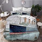 MAYBELOST Nautische Retro Beddengoedset, microvezel, klassiek titanium, schip, oceaan, landschap, aquarelkunst, 1 dekbedovert