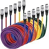 Neewer 6-Pack Cables Cuerdas de Micrófono de Audio 7,6 Metros -XLR Macho a XLR Hembra Cables de Serpiente de Color (Morado/Ro