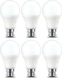 Classic Shape Daylight 5-Year Warranty LumeGlow LED B22 Bayonet Cap Light Bulbs 9w 60w equivalent 6500k Long Life , 6-Pack . 50,000 Burning Hours