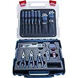 Bosch Professional hantverkarset med proffsverktyg (skruvmejslar, tänger, måttband, vattenpass, fällkniv, ytterligare 19 dela