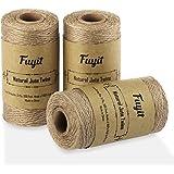 Fuyit Tuinkoord, jutekoord, 3 stuks, natuurlijk tuinkoord, jute, knutselkoord, decoratiekoord voor doe-het-zelf kunstnijverhe