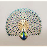DISHIN Home Decoration European Peacock Wall Clock Crystal Luxury Living Room Clock Creative Personality Art Decoration Wall