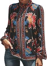 Saingace Women Casual Long Sleeve Stand Collar Chiffon Shirt Floral Pattern Printed Tops Blouse
