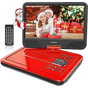 """WONNIE 12.5"""" Lecteur DVD Portable avec écran Rotatif de 10,5"""" à 270°, Carte SD et Prise USB avec Charge directe Formats/RMVB / AVI / MP3 / JPEG, Parfait pour Enfants (Rouge)"""