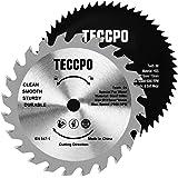 2 pz lame per seghe circolari professionali TECCPO 115mm x 10mm, 1 x TCT 24 lame per legno per seghe per legno, 1 x HSS 44 denti lame per plastica e metallo morbido - TACB29A