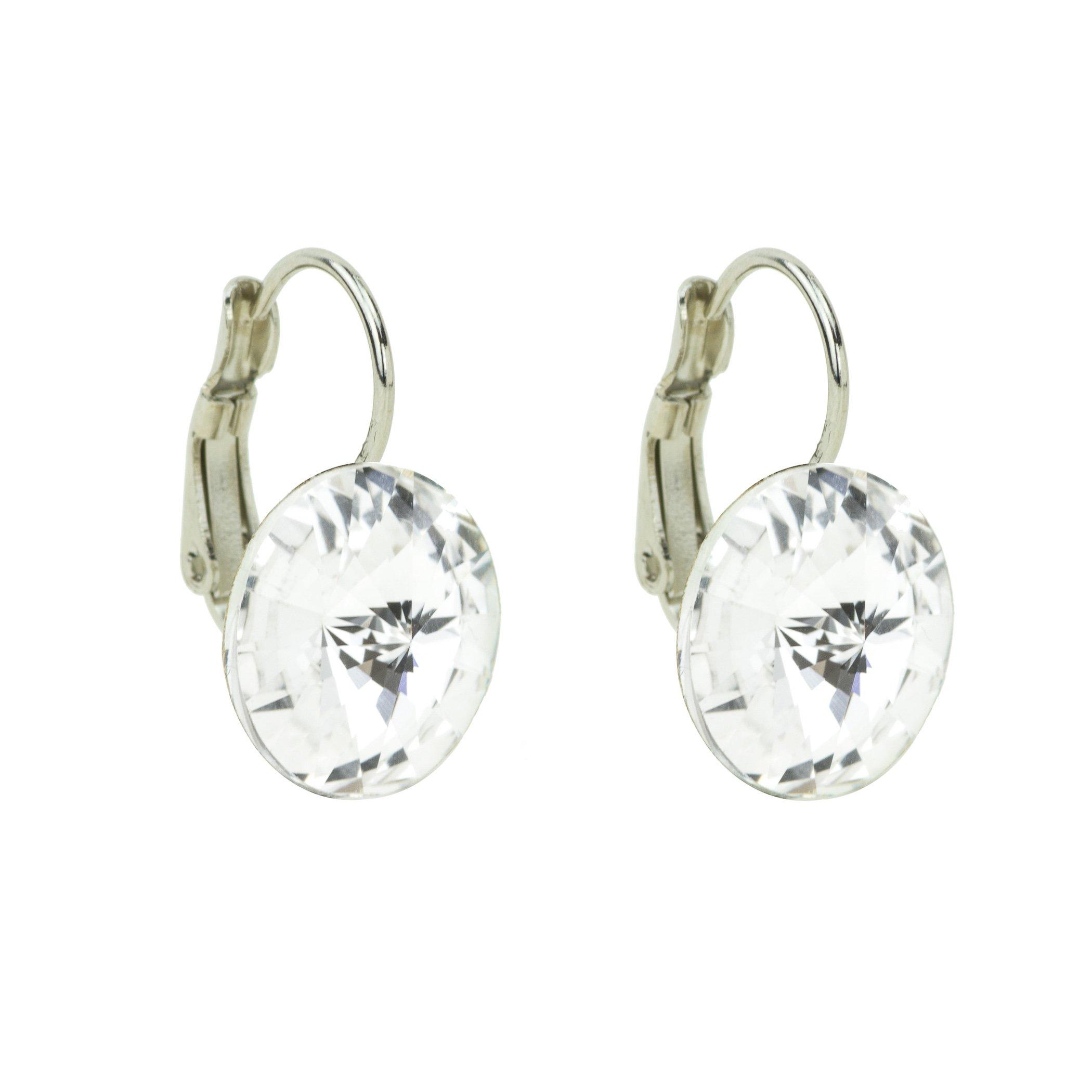 Eve S jewelry orecchini da donna con Swarovski Elements Crystal (14mm) placcati argento rodiato cri