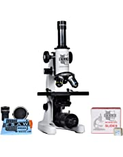 ESAW SM-02 Student Compound Microscope (Magnification 100X-675X) with 10X and 15X Wide Field Eyepieces Kit (50 Blank Slides, Cover Slips)