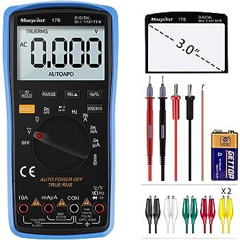 Digital Multimeter, Auto-Range Morpilot 6000Counts Strommessgerät Voltmeter Ohmmeter Amperemeter, Temperatur, Außenleiter-Identifizierung, True RMS, Durchgangsprüfung, für professionelle Anwender
