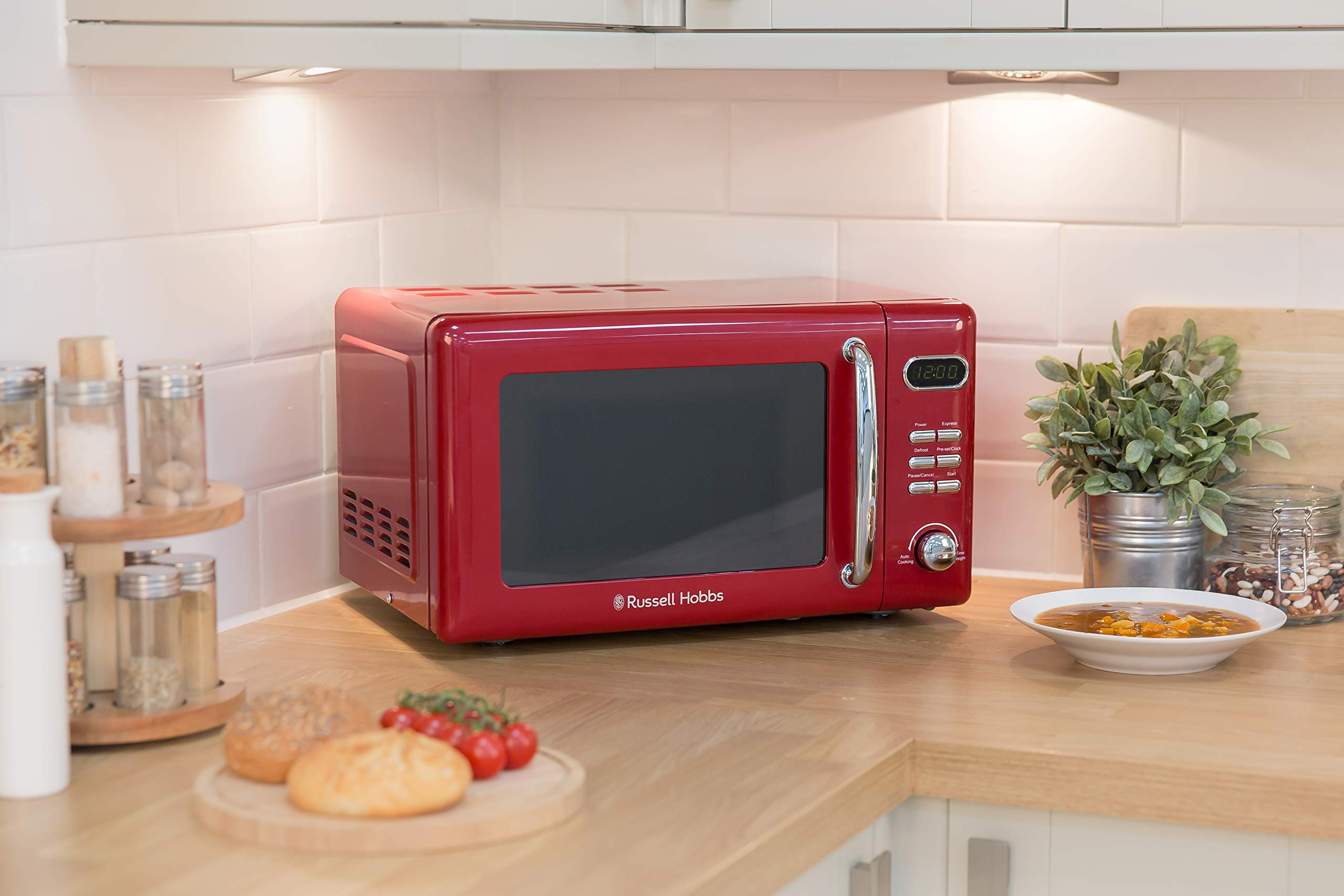 71IZ3brwhdL - Russell Hobbs RHRETMD806R Solo Microwave, Red, 17 liters