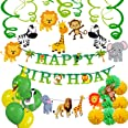 Party Propz Jungle Theme Birthday Party Decoration Boys-70Pcs Hawaiian Animals Safari Forest Balloons, Banners, Swirls, Pompo