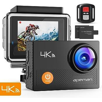 APEMAN 4K Action Cam Wi-Fi 16MP Ultra FHD Impermeabile 30M Immersione Sott'acqua Camera con Schermo 2 Pollici 170 Gradi Ampia Vista Grandangolare/Telecomando 2.4G/20 Accessori all'Interno
