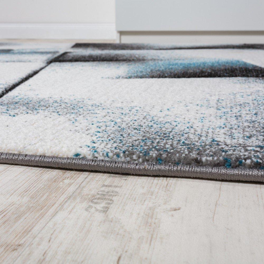 Designer Teppich Wohnzimmer Teppiche Kurzflor Meliert Turkis Grau Creme Schwarz Grosse200x280 Cm Amazonde Kuche Haushalt