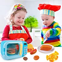 Outgeek Microwave Toys Kitchen Play Set,Kids Pretend Play Electronic Oven with Play Food,Cutting Boards and Plates Toy…