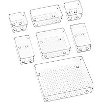 Puricon Organiseur Cusine Tiroir, Range Couvert Toute Transparent Lot de 7, Boîte Stockage en Polystyrène, Mettre de l…