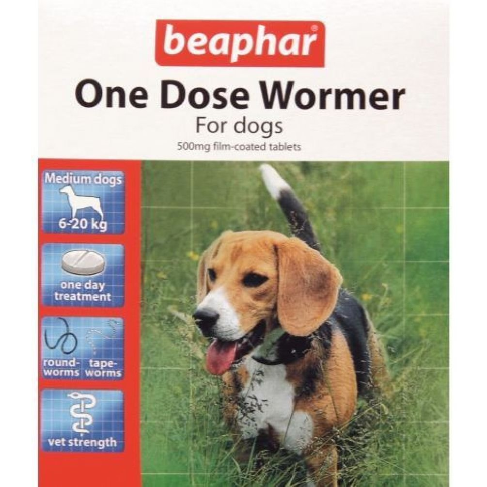 PonZE Beaphar One Dose Wormer Tablet Worming For Medium Dogs Dewomer Upto 20 Kg