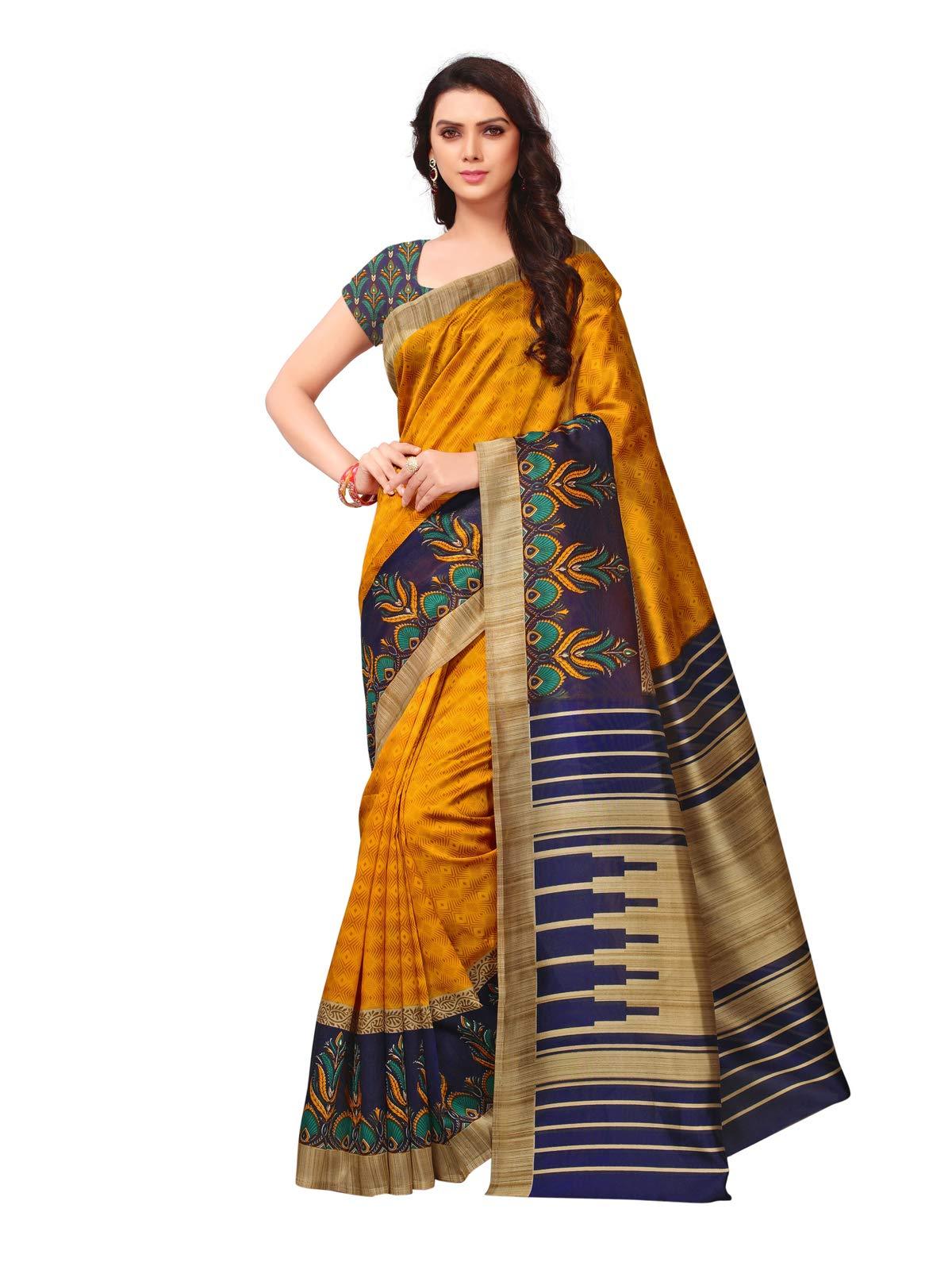Kanchnar Women's Yellow Poly Silk Printed Saree735S20