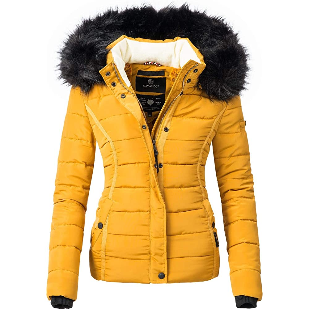 Navahoo, giacca trapuntata invernale da donna con cappuccio in pelliccia sintetica Miamor XS-XXL