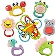 Nene Toys Set de 7 Sonajeros y Mordedores Coloridos para Bebés y Niños a Partir de 6 Meses - Incluye 1 Anillo de Dentición Pr