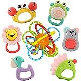 Nene Toys - 7 pezzi Discovery Animals Set Sonagli e Massaggiagengive per Bambini Senza BPA con Gioco di Anelli per Dentizione