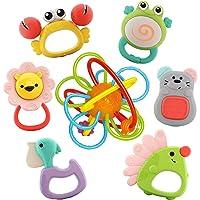 Nene Toys - 7 pezzi Discovery Animals Set Sonagli e Massaggiagengive per Bambini Senza BPA con Gioco di Anelli per…