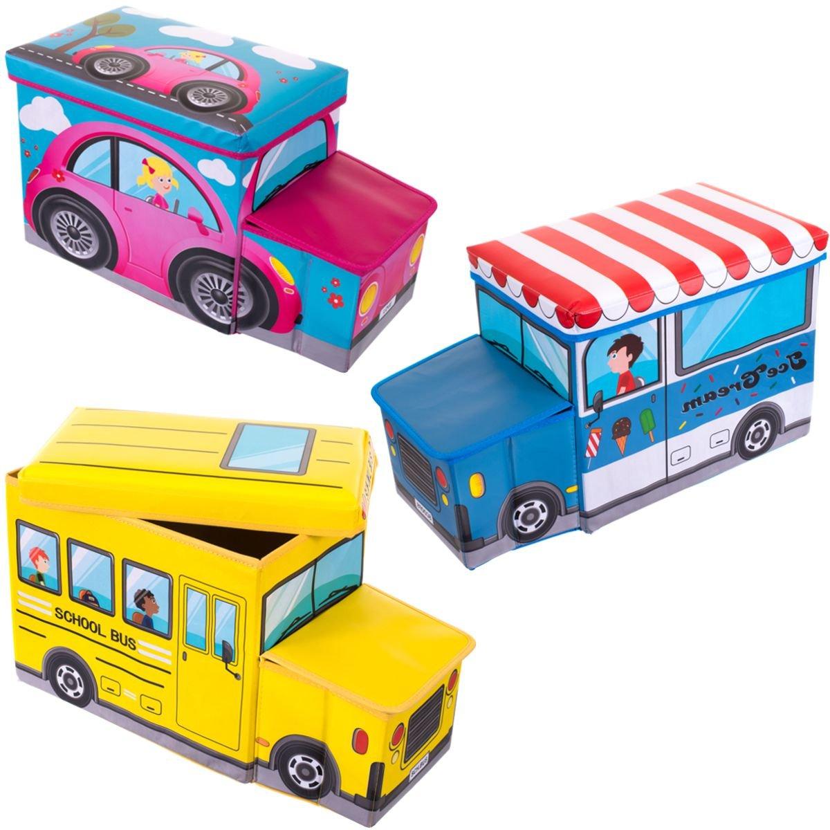 Kinder Staubox Spielzeugkiste Sitzbank Spielzeugboxen Feuerwehr gepolstert Bieco