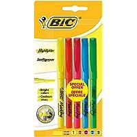 BIC Highlighter Surligneurs Pointe Biseautée - Couleurs Fluo Assorties, Blister Format Spécial de 5
