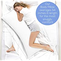 Ultra Soft Body Pillow - Long Side Sleeper Pillows for Use During Pregnancy - 100% Cotton Soft White Stripes with Soft Polyester Filling (Single Pack)