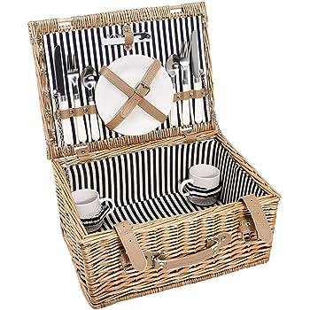 BUTLERS A Day in the Park Picknickkorb für 2 Personen groß - Rechteckiges Picknickkoffer Set mit Geschirr und Besteck