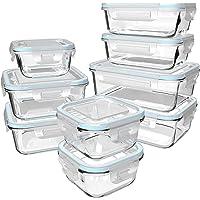 GENICOOK Lot de 9 boîtes de conservation en verre avec couvercle/boîtes de conservation/récipients alimentaires…
