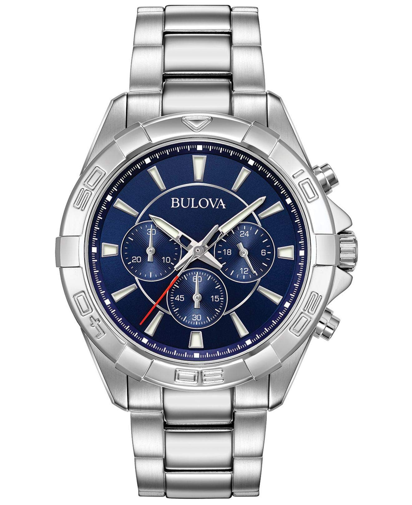 Bulova Mens Chronograph Quartz Watch with Stainless Steel Strap 96A215