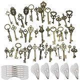 Nsiwem 46 pièces Clés Squelette en Antique Bronze Squelette Clé Charmes Collier Pendentif Clé Rustique AVCE 50 PCS Breloques