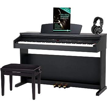 Classic Cantabile DP-50 SM E-Piano SET (Digitalpiano mit Hammermechanik, 88 Tasten, 2 Anschlüsse für Kopfhörer, USB, LED, 3 Pedale, Piano für Anfänger, Pianobank, Kopfhörer, Klavierschule) schwarz