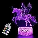 Luce Notturna Unicorno 3D per Bambini, Lampada LED per Ragazza USB Luce Notturna Illusione, 16 colori che Cambiano con Teleco