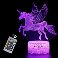Veilleuse Licorne 3D pour Enfants, Fille Lampe LED USB Veilleuse Illusion, 16 Couleurs Changeantes avec Télécommande…