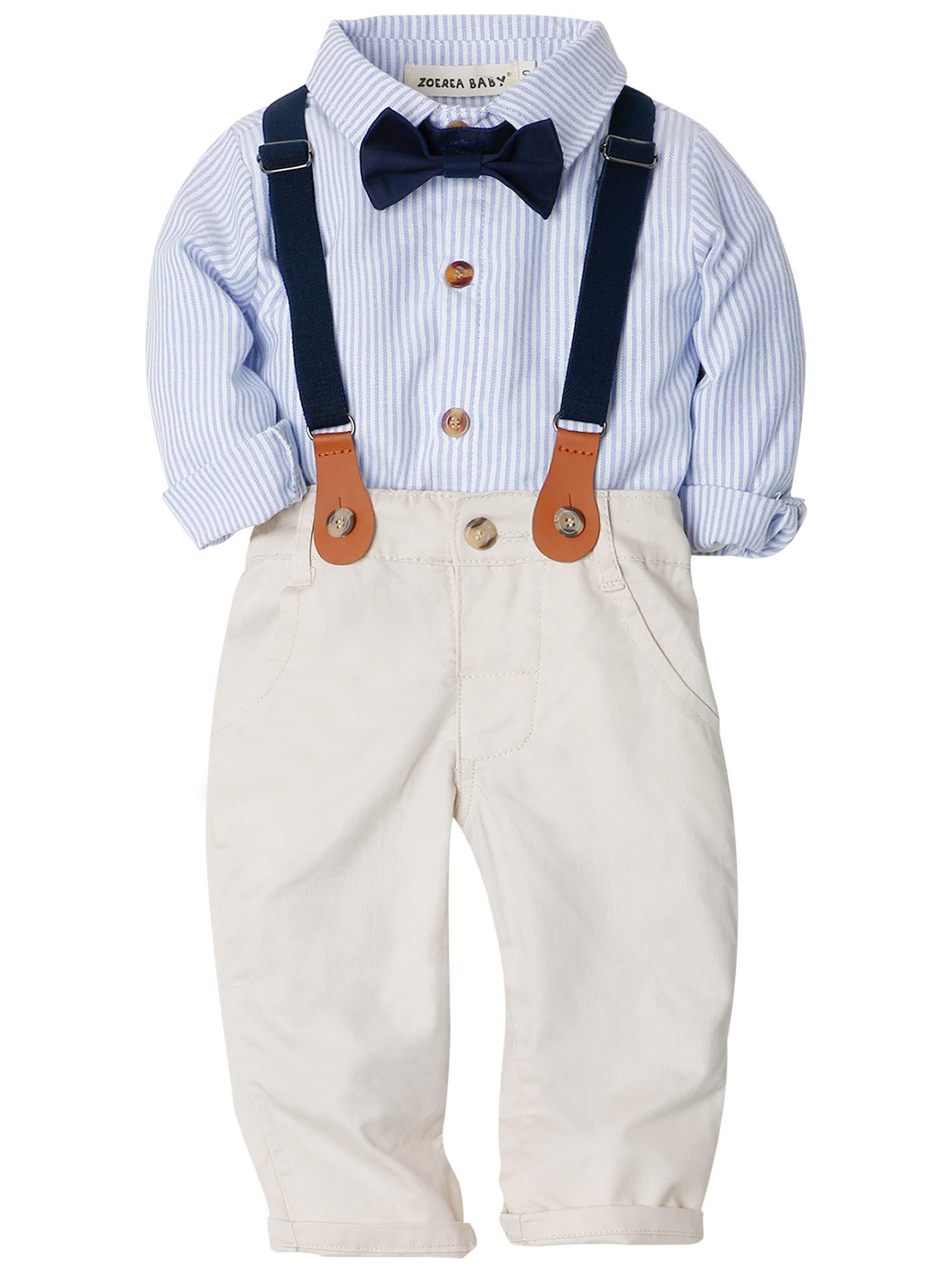 ZOEREA Baby Jungen Gentleman Suit Hosen Hemd Fliege Hosenträger für Weihnachten Hochzeitsfest